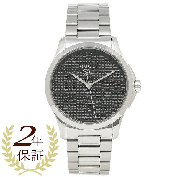 【2時間限定ポイント10倍】グッチ 腕時計 メンズ GUCCI YA126460 ブラック シルバー