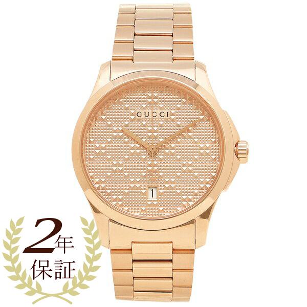 【返品OK】グッチ 腕時計 メンズ GUCCI YA126482 サーモンピンク ピンクゴールド