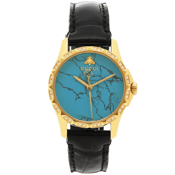【4時間限定ポイント5倍】グッチ 腕時計 レディース GUCCI YA126560 ブルー イエローゴールド ブラック