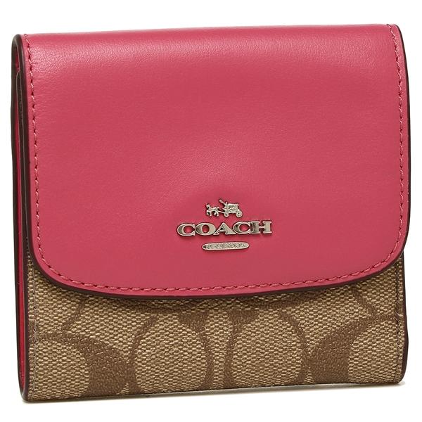 three coaches fold wallet outlet ladys coach f87589 skhmj khaki pink