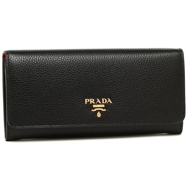 プラダ 長財布 レディース PRADA 1MH132 2BG5 F0LJ4 ブラック レッド