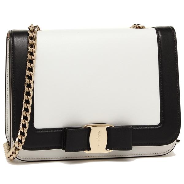 Ferragamo Shoulder Bag Lady S Salvatore 21g893 0687483 003 White Black