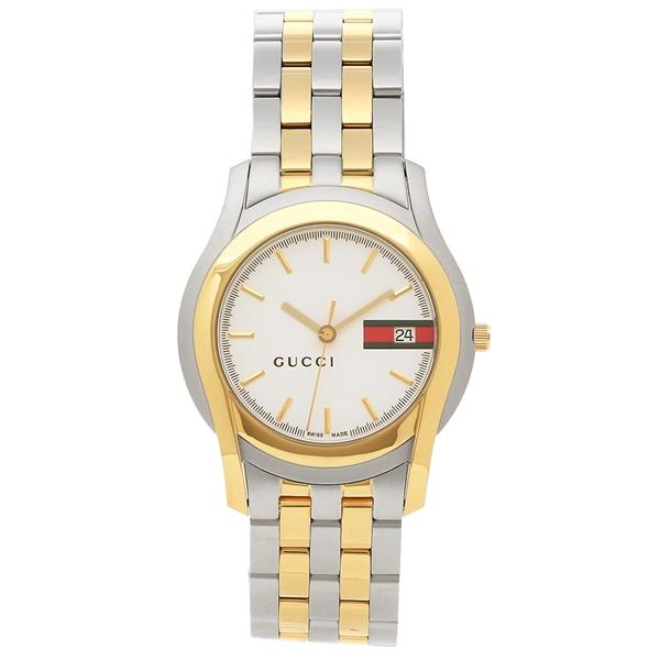 【2時間限定ポイント10倍】グッチ 腕時計 メンズ GUCCI YA055313 シルバー イエローゴールド