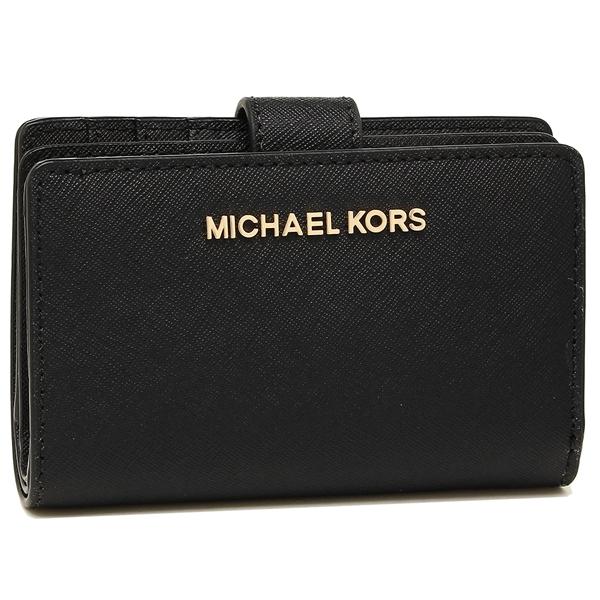【4時間限定ポイント10倍】マイケルコース 折財布 アウトレット レディース MICHAEL KORS 35F7GTVF2L BLACK ブラック