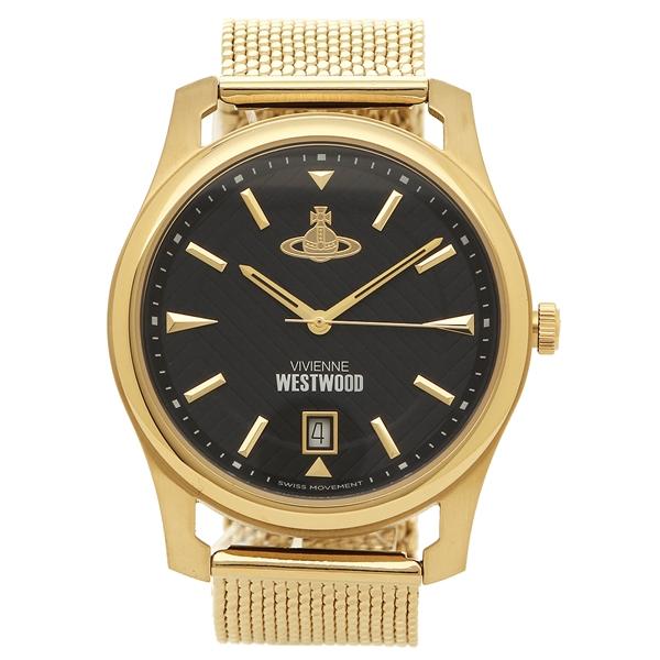 ヴィヴィアンウエストウッド 腕時計 メンズ VIVIENNE WESTWOOD VV185BKGD ブラック イエローゴールド