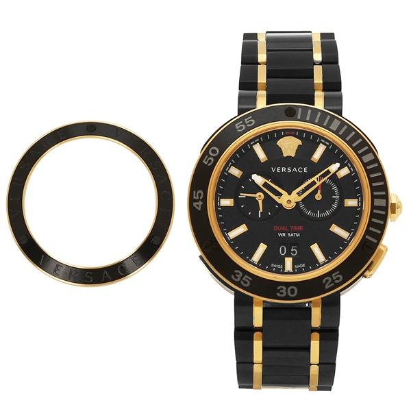 ヴェルサーチ 腕時計 メンズ VERSACE VCN040017 ブラック イエローゴールド