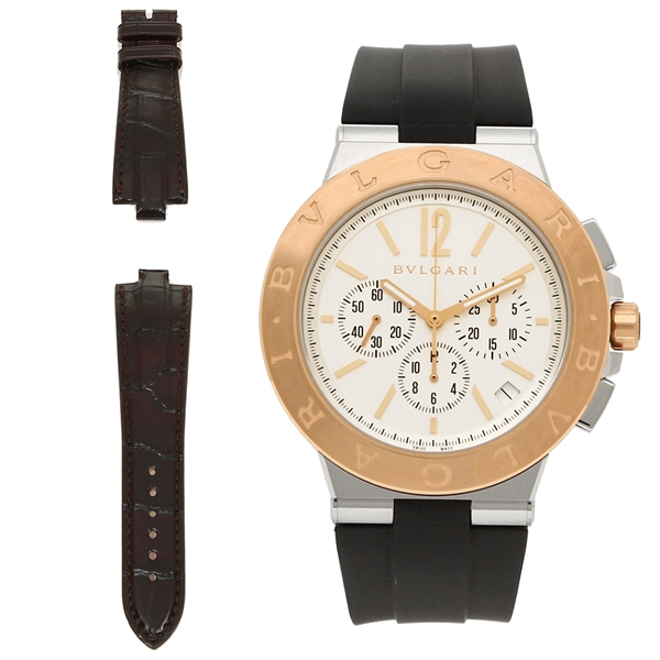 ブルガリ 腕時計 メンズ BVLGARI DG41WSPGVDCH-SET-BRW ブラック シルバー ローズゴールド