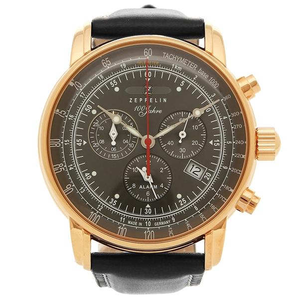 ツェッペリン 腕時計 メンズ ZEPPELIN 8682-2 ブラック グレー ローズゴールド