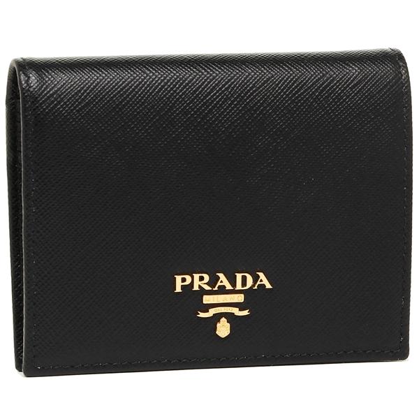【4時間限定ポイント10倍】プラダ 折財布 レディース PRADA 1MV204 QWA F0002 ブラック