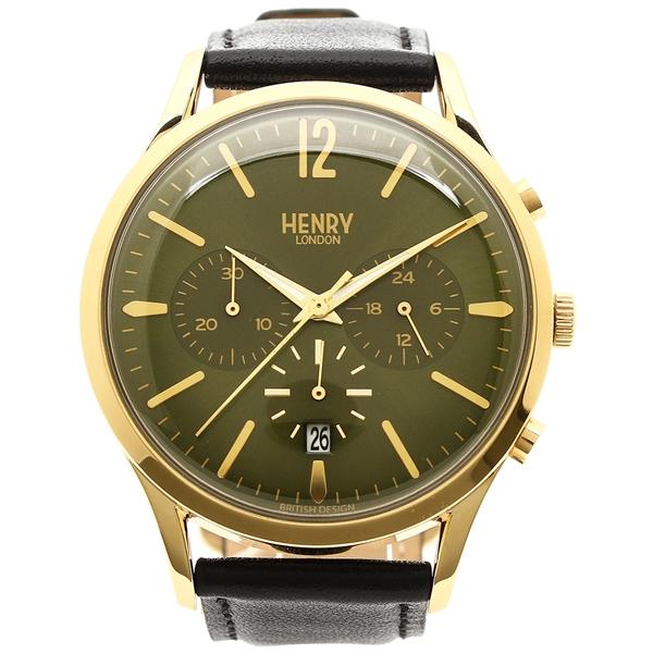 【2時間限定ポイント10倍】ヘンリーロンドン 腕時計 メンズ HENRY LONDON HL41CS0106 ブラック イエローゴールド グリーン
