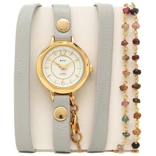 【2時間限定ポイント10倍】ラメール コレクションズ 腕時計 レディース LA MER COLLECTIONS LAMER810 グレー ゴールド ホワイト