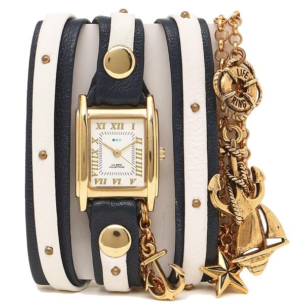 【4時間限定ポイント10倍】ラメール コレクションズ 腕時計 レディース LA MER COLLECTIONS LMCW7004 ブルー ホワイト ゴールド ホワイト