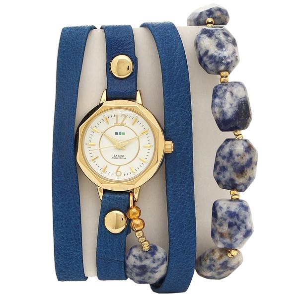 ラメール コレクションズ 腕時計 レディース LA MER COLLECTIONS LMDEL1001 ブルー ゴールド ホワイト