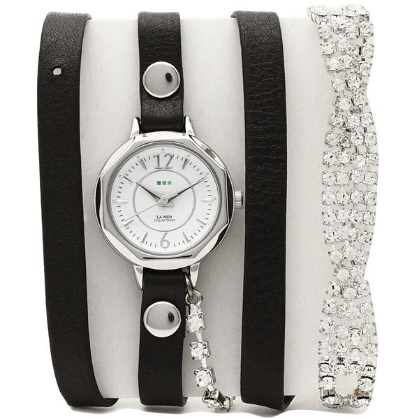 【2時間限定ポイント10倍】ラメール コレクションズ 腕時計 レディース LA MER COLLECTIONS LMDELCRY1504 ブラック シルバー ホワイト