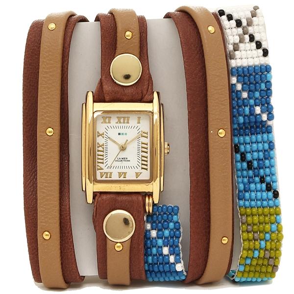 【2時間限定ポイント10倍】ラメール コレクションズ 腕時計 レディース LA MER COLLECTIONS LMGUAT016B ブラウン ゴールド ホワイト