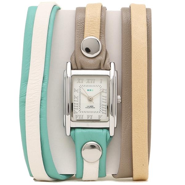 【2時間限定ポイント10倍】ラメール コレクションズ 腕時計 レディース LA MER COLLECTIONS LMLWMIX1004 グリーン カーキ シルバー ホワイト