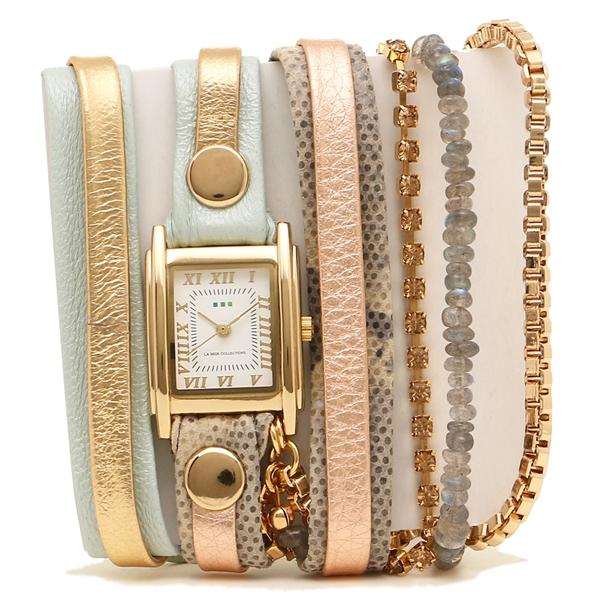 【2時間限定ポイント10倍】ラメール コレクションズ 腕時計 レディース LA MER COLLECTIONS LMMULTI4100 ピンク ライトグリーン ゴールド ホワイト