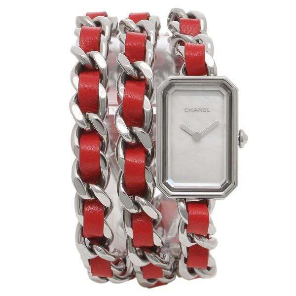 【4時間限定ポイント5倍】シャネル 腕時計 レディース プルミエール CHANEL H5313 シルバー レッド パール