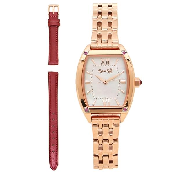 【返品OK】ルビンローザ 腕時計 レディース 替えベルト付き Rubin Rosa R025SOLPWH ホワイト ピンクゴールド