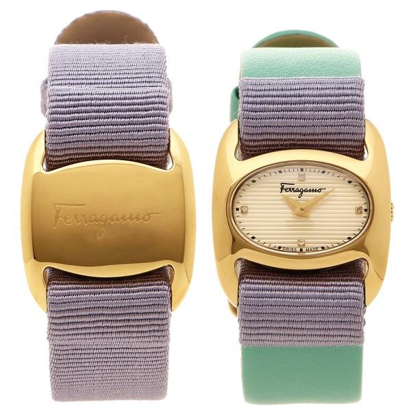 フェラガモ 腕時計 レディース 替えベルト付き Salvatore Ferragamo FIE130016 ゴールド パープル グリーン