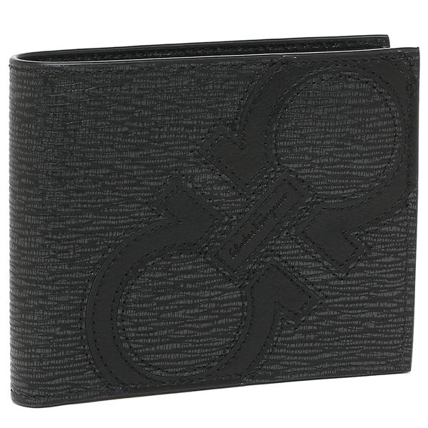 フェラガモ 二つ折り財布 メンズ Salvatore Ferragamo 66A277 0693865 グレー ブラック