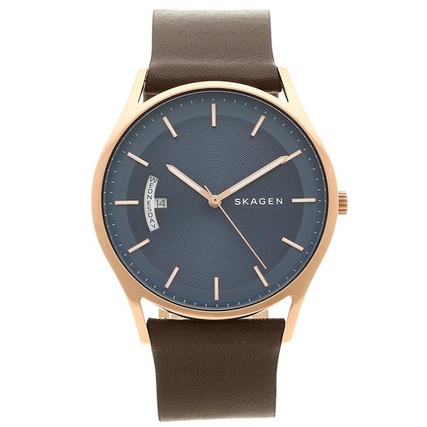 【4時間限定ポイント10倍】スカーゲン 腕時計 メンズ SKAGEN SKW6395 ネイビーブルー ブラウン ピンクゴールド