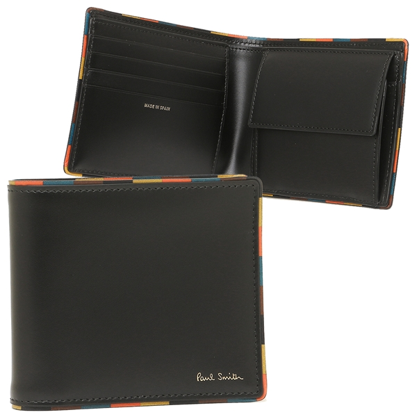 【24時間限定ポイント5倍】ポールスミス 折財布 メンズ PAUL SMITH 4833-AEDGE 79 ブラック マルチカラー