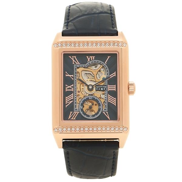 【返品OK】ゾンネ 腕時計 メンズ 手巻き SONNE H021PGZNV ピンクゴールド ネイビー