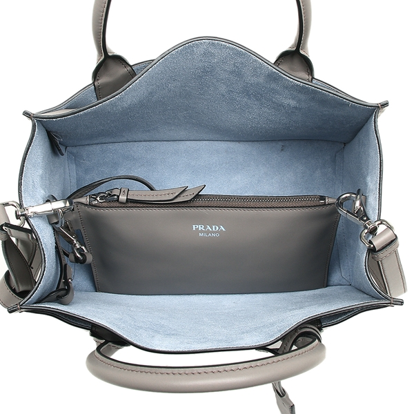 3ffe9d1abb8 ... Prada tote bag shoulder bag Lady's PRADA 1BA178 2AIX F0213 gray light  blue ...