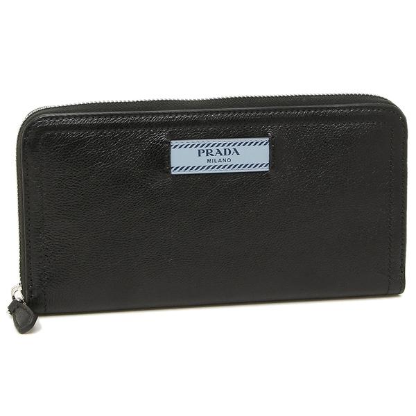 【4時間限定ポイント5倍】プラダ 折財布 レディース PRADA 1ML506 2BMU F0OK0 ブラック ライトブルー