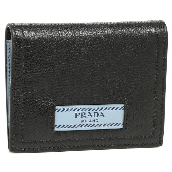 プラダ 折財布 レディース PRADA 1MV204 2BMU F0OK0 ブラック ライトブルー