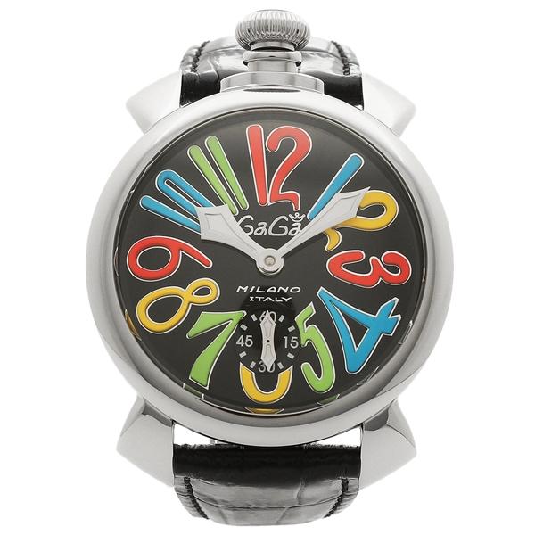 【4時間限定ポイント5倍】ガガミラノ 腕時計 メンズ GAGA MILANO 5010.02S-BLK ブラック マルチカラー シルバー