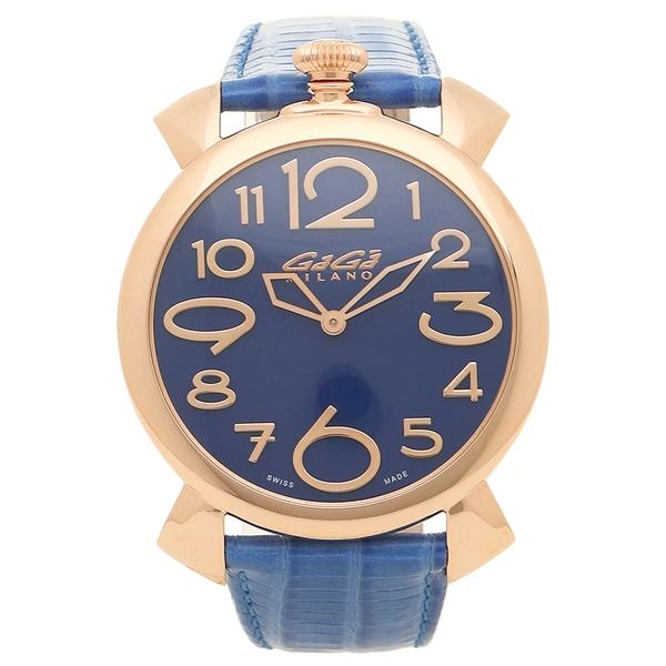 【4時間限定ポイント5倍】ガガミラノ 腕時計 メンズ GAGA MILANO 5091.07-LBU ブルー ピンクゴールド