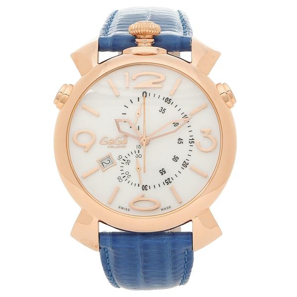 【4時間限定ポイント5倍】ガガミラノ 腕時計 メンズ GAGA MILANO 5098.01BT-N ホワイト ブルー ピンクゴールド