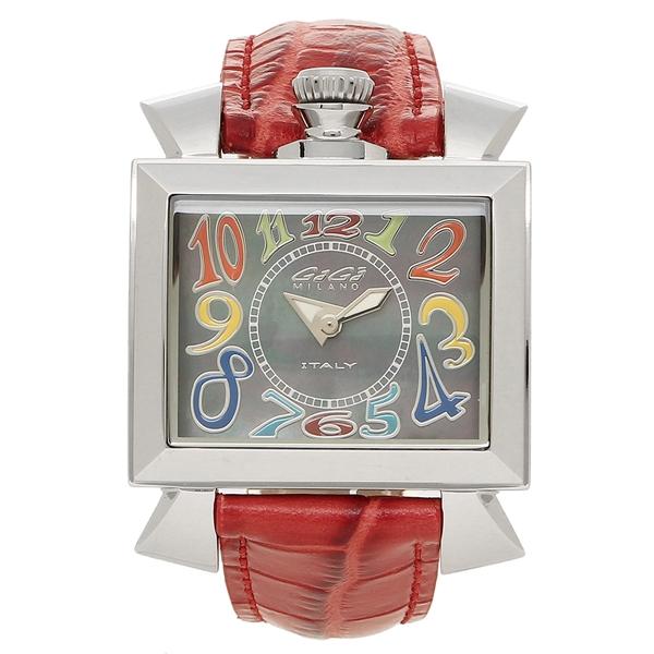 【4時間限定ポイント5倍】ガガミラノ 腕時計 レディース GAGA MILANO 6030.2-NEW ブラックパール レッド シルバー