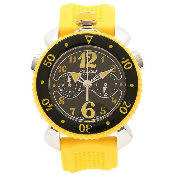 【4時間限定ポイント5倍】ガガミラノ 腕時計 メンズ GAGA MILANO 7010.06 ブラック イエロー シルバー