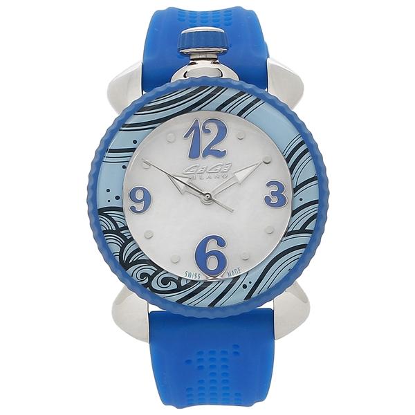 【期間限定ポイント5倍】【返品OK】ガガミラノ 腕時計 レディース GAGA MILANO 7020.03 ホワイトパール シルバー ブルー