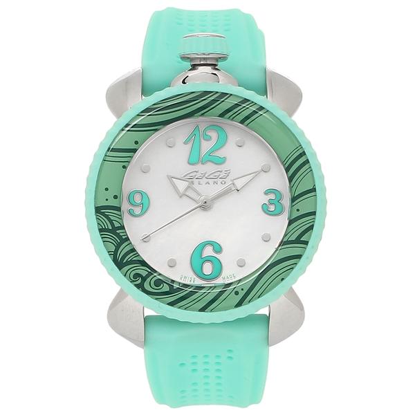 【4時間限定ポイント5倍】ガガミラノ 腕時計 レディース GAGA MILANO 7020.04 ホワイトパール グリーン シルバー