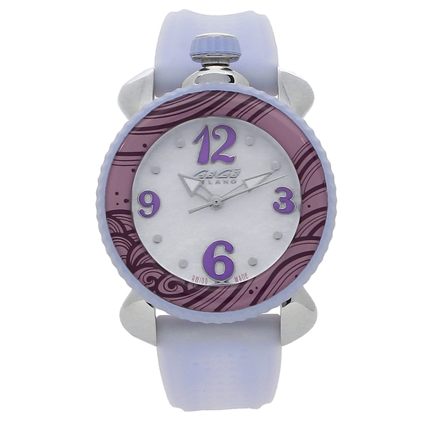 【期間限定ポイント5倍】【返品OK】ガガミラノ 腕時計 レディース GAGA MILANO 7020.07 ホワイトパール パープル シルバー