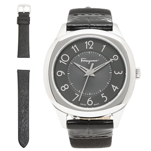 【4時間限定ポイント5倍】フェラガモ 腕時計 レディース Salvatore Ferragamo F42020017 ブラック シルバー