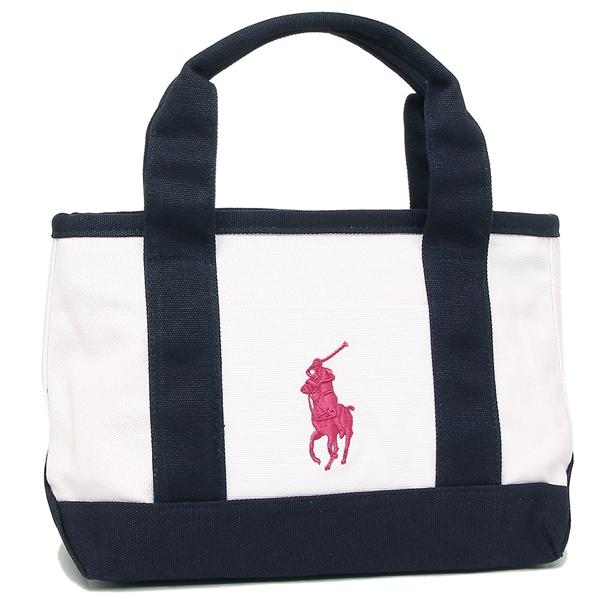 Polo Tote Bag Lady S Ralph Lauren Ra100117 White Navy