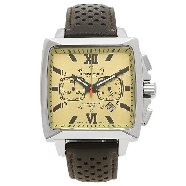 【4時間限定ポイント5倍】ハンティングワールド 腕時計 メンズ HUNTING WORLD HW701SBR ブラウン シルバー イエロー