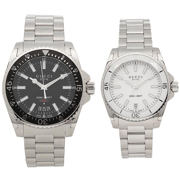 78bddd333c4 Gucci watch pair watch Lady s men GUCCI YA136301 YA136402 black white silver