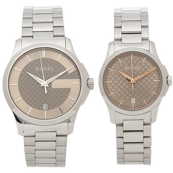 e536b09b23f Gucci watch pair watch Lady s men GUCCI YA126445 YA126594 silver brown