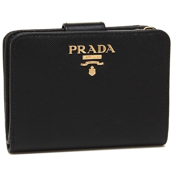 【4時間限定ポイント10倍】プラダ 折財布 レディース PRADA 1ML018 QWA F0002 ブラック
