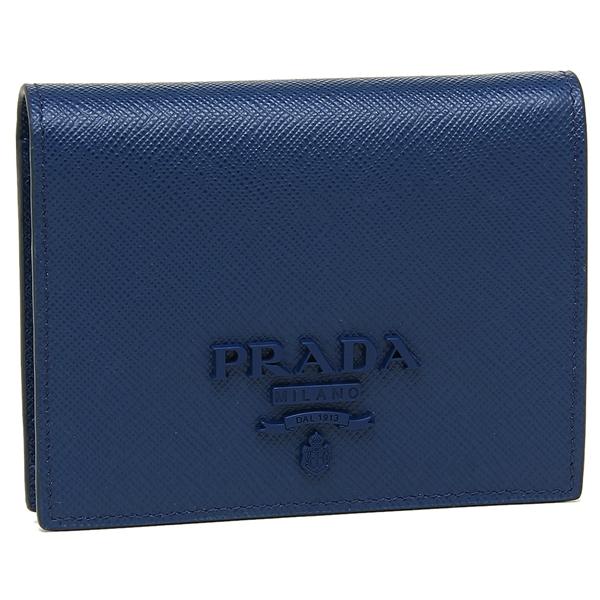 【4時間限定ポイント10倍】プラダ 折財布 レディース PRADA 1MV204 2EBW F0016 ブルー