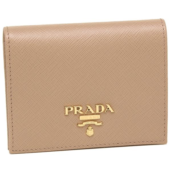 【9時間限定ポイント10倍】【返品OK】プラダ 折財布 レディース PRADA 1MV204 QWA F0236 ベージュ