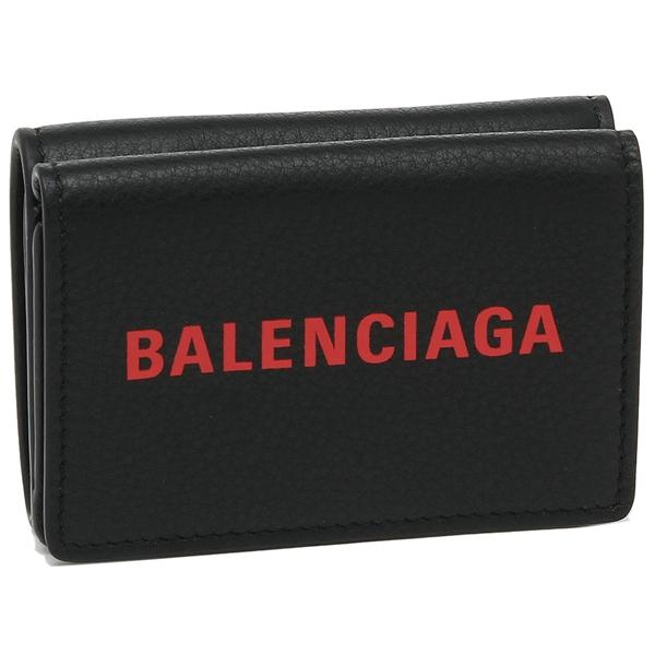 【4時間限定ポイント10倍】バレンシアガ 折財布 レディース BALENCIAGA 505055 DLQHN 1064 ブラック レッド