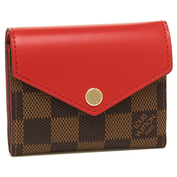 【4時間限定ポイント10倍】ルイヴィトン 折財布 レディース LOUIS VUITTON N60166 ブラウン レッド