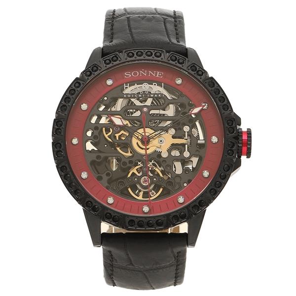 【6時間限定ポイント10倍】【返品OK】ゾンネ 腕時計 メンズ SONNE H023BKZ-BK ブラック レッド